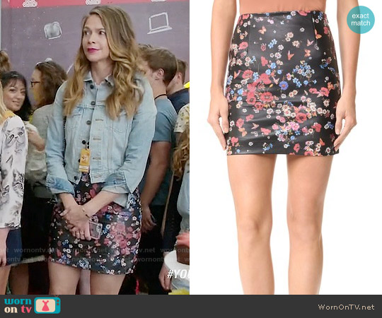 The Kooples Flower Print Leather Skirt worn by Sutton Foster on Younger