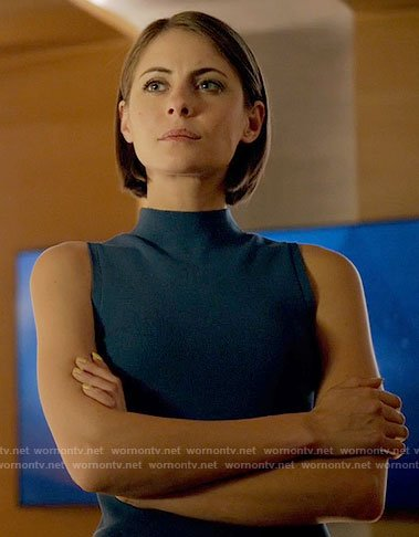 Thea's blue high neck top on Arrow