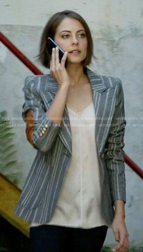 Thea's grey striped blazer with elbow patches on Arrow