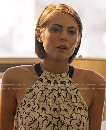 Thea's black and white printed halter top on Arrow