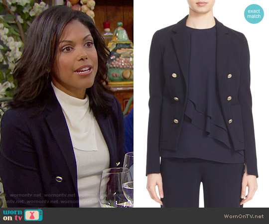 Theory 'Jonita K Fixture' Ponte Jacket worn by Maya Avant on The Bold & the Beautiful