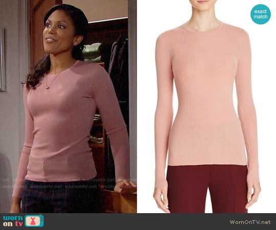 Theory Mizri Sweater in Dark Gardenia worn by Maya Avant (Karla Mosley) on The Bold & the Beautiful