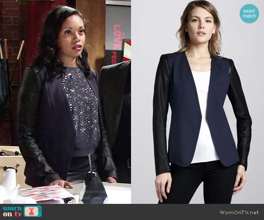 Theory Pryor Two-Tone Blazer worn by Mishael Morgan on The Young & the Restless
