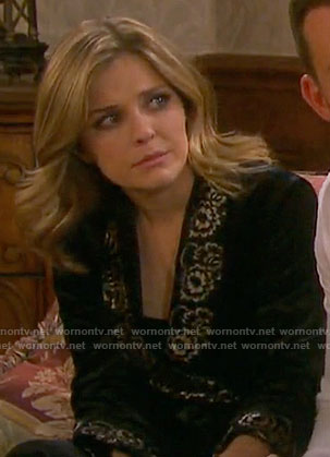 Theresa's velvet robe with lace trim on Days of our Lives