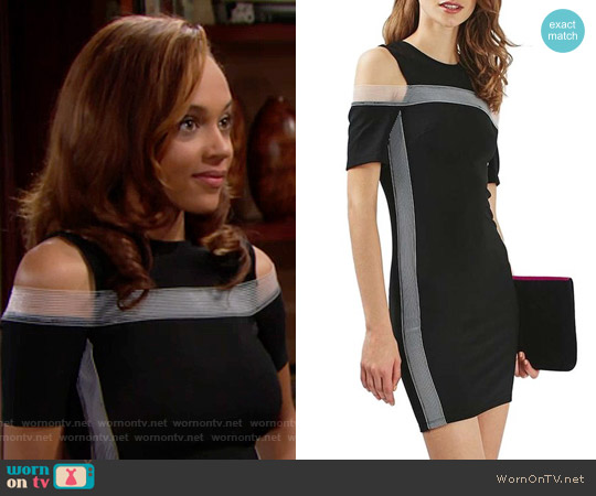 Topshop Elastic Trim Cold Shoulder Dress worn by Nicole Avant (Reign Edwards) on The Bold & the Beautiful