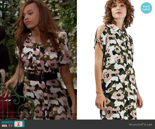 Topshop Camo Floral Print Shirtdress worn by Nicole Avant (Reign Edwards) on The Bold & the Beautiful
