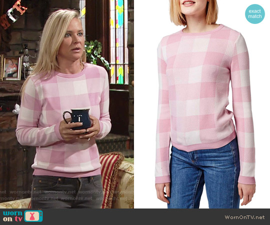 Topshop Gingham Check Sweater worn by Sharon Case on The Young & the Restless