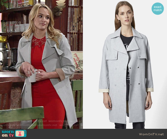 Topshop Double Breasted Trench Coat worn by Hunter King on The Young & the Restless