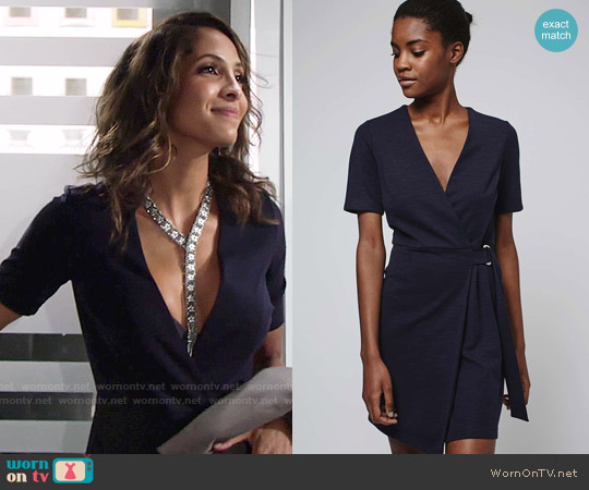 Topshop Belted Wrap Mini Dress worn by Christel Khalil on The Young & the Restless