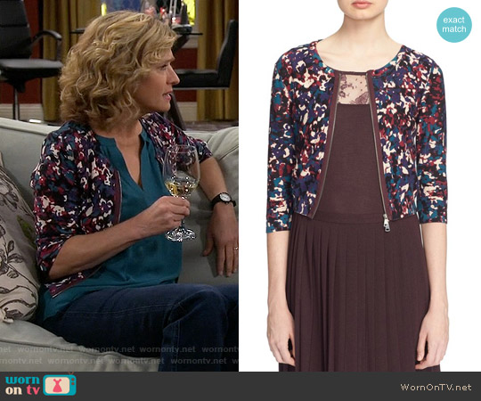 Tracy Reese Speckle Print Zip Cardigan worn by Nancy Travis on Last Man Standing