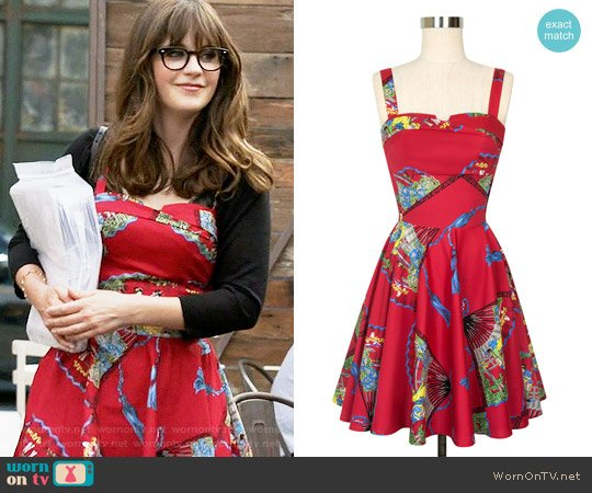 Trashy Diva Trixie Dress in Red Fans worn by Zooey Deschanel on New Girl