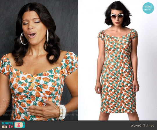 Unique Vintage Pineapple Tiki Dolores Wiggle Dress worn by Andrea Navedo on Jane the Virgin