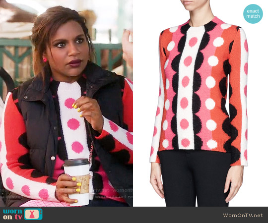 Valentino Optic Floral Wool Sweater worn by Mindy Lahiri (Mindy Kaling) on The Mindy Project