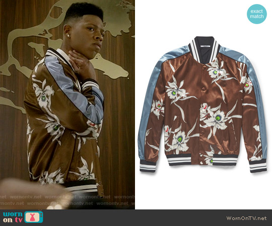 Valentino Printed Satin Bomber Jacket worn by Bryshere Y. Gray on Empire