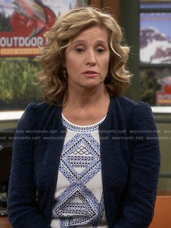 Vanessa's blue embroidered top and textured jacket on Last Man Standing