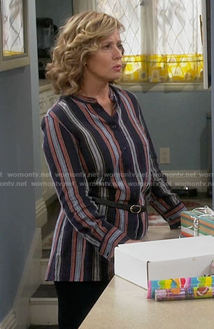 Vanessa's navy striped tunic on Last Man Standing