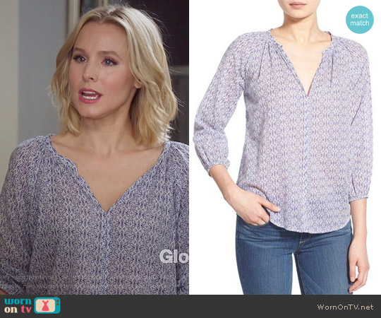 Velvet by Graham & Spencer Cotton Voile Peasant Blouse worn by Kristen Bell on The Good Place