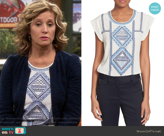 Veronica Beard 'Baja' Flutter Cap Sleeve Top worn by Nancy Travis on Last Man Standing