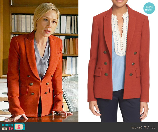 Veronica Beard 'Peninsula' Faux Double Breasted Blazer in Brick worn by Liza Weil on HTGAWM