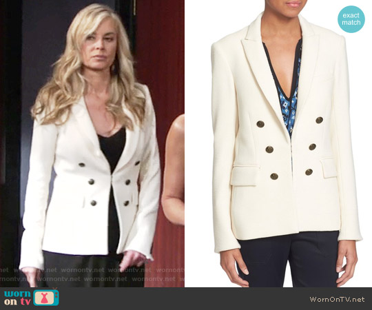 Veronica Beard Peninsula Faux Double Breasted Blazer worn by Eileen Davidson on The Young & the Restless