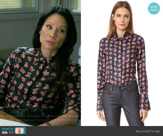 Victoria Beckham Fruit Machine Button Down Shirt worn by Lucy Liu on Elementary