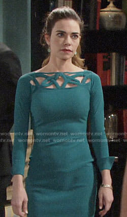 Victoria's green long sleeved dress with cutouts on The Young and the Restless