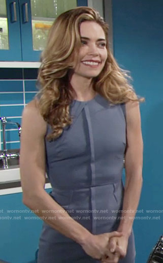 Victoria's steel blue sheath dress with front seam on The Young and the Restless