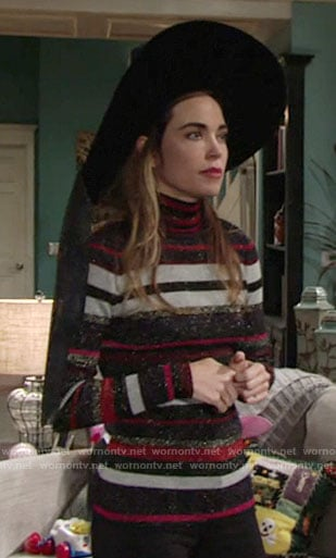Victoria's metallic striped turtleneck Halloween sweater on The Young and the Restless