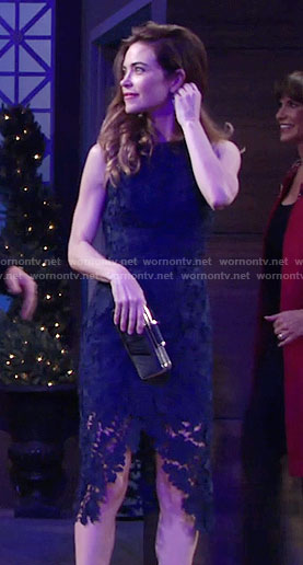 Victoria's navy lace dress on The Young and the Restless