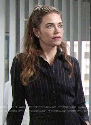Victoria's pinstriped shirtdress on The Young and the Restless