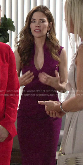 Victoria's purple high collar dress on The Young and the Restless