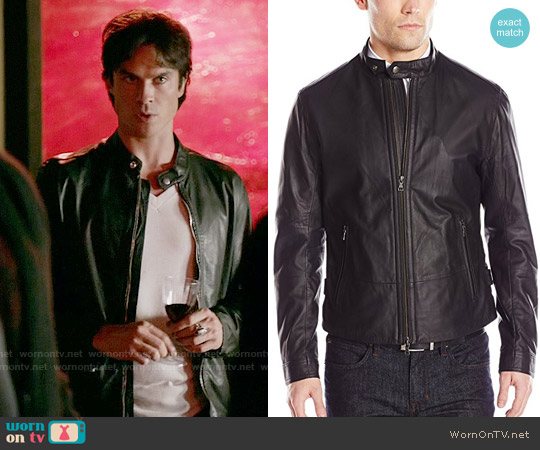 Vince Essential Leather Jacket worn by Ian Somerhalder on The Vampire Diaries