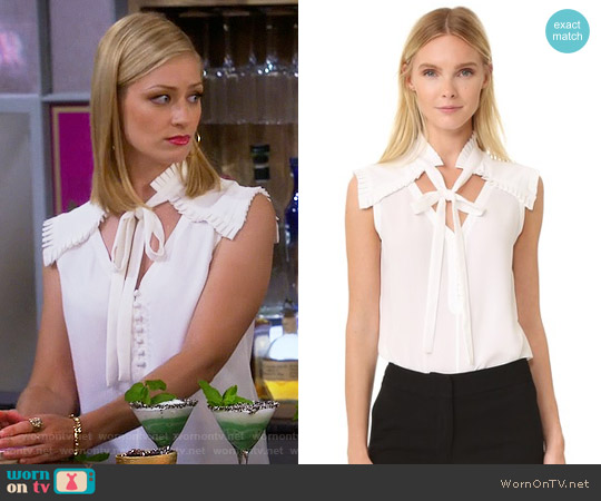 Yigal Azrouel Center Front Tie Top worn by Beth Behrs on 2 Broke Girls