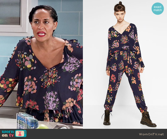 Zara Flowing Printed Top and Loose Fit Trousers worn by Tracee Ellis Ross on Blackish