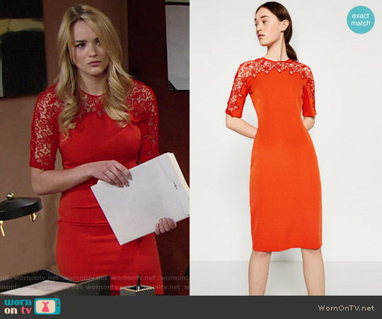 Zara Lace Detail Dress worn by Hunter King on The Young & the Restless