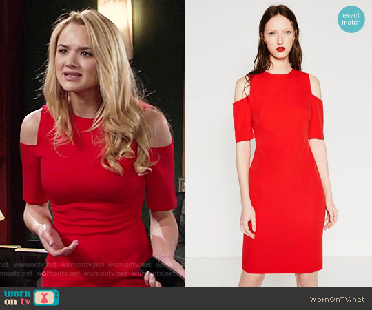 Zara Shift Dress with Shoulder Cutouts worn by Hunter King on The Young & the Restless