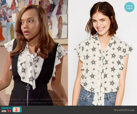 Zara Star Print Blouse worn by Nicole Avant (Reign Edwards) on The Bold & the Beautiful
