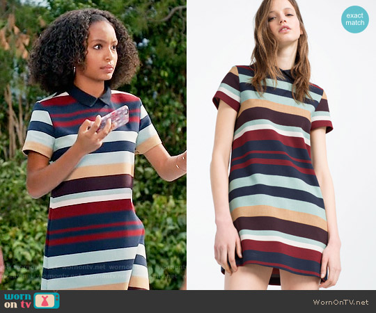 Zara Striped Dress worn by Zoey Johnson (Yara Shahidi) on Blackish