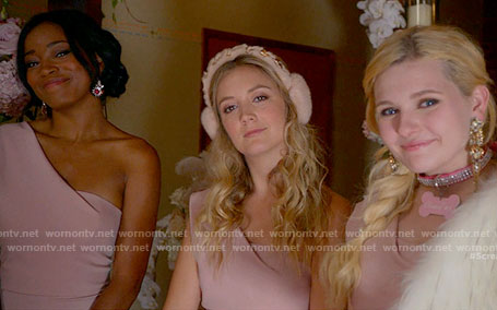 Zayday and The Chanels' pink one shoulder bridesmaid dresses on Scream Queens