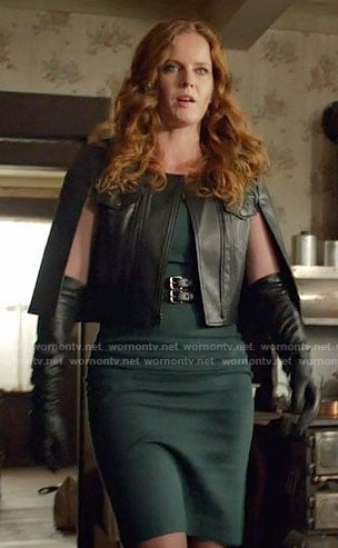 Zelena's leather caped jacket on Once Upon a Time