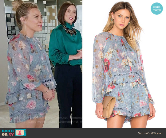 Zimmermann Havoc Floating Layer Playsuit worn by Sutton Foster on Younger
