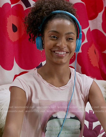 Zoey's pink macaroon graphic tee on Black-ish