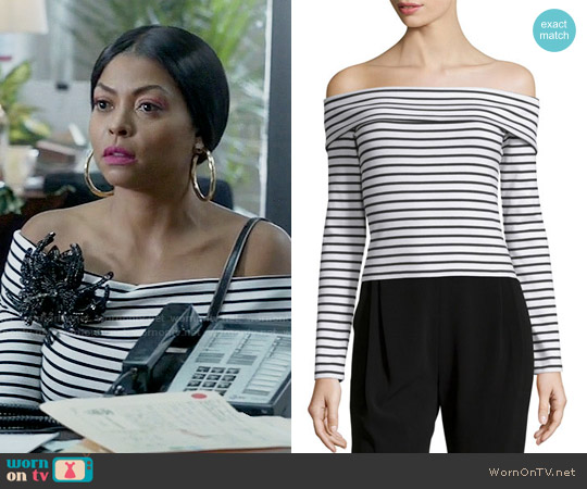 10 Crosby by Derek Lam Long-Sleeve Striped Off-the-Shoulder Top worn by Cookie Lyon (Taraji P. Henson) on Empire