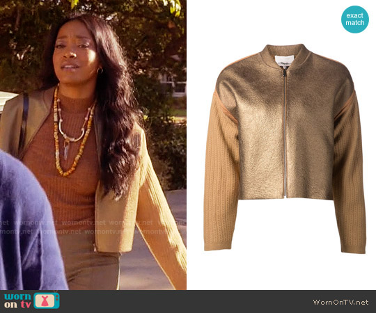 3.1 Phillip Lim Knit Sleeve Bomber Jacket worn by Keke Palmer on Scream Queens
