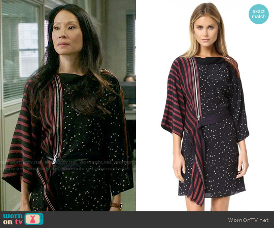 3.1 Phillip Lim Kimono-sleeve Striped Silk Dress worn by Joan Watson (Lucy Liu) on Elementary