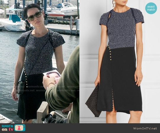 3.1 Phillip Lim Bouclé and silk crepe de chine dress worn by Lucy Liu on Elementary