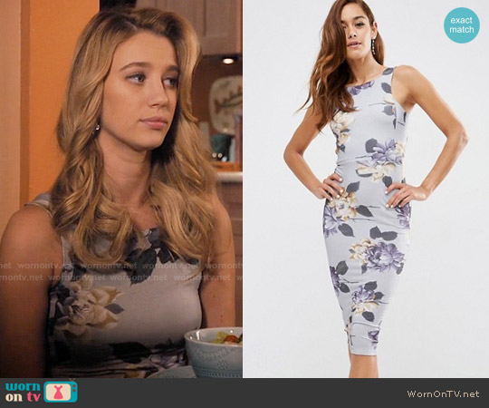 ASOS Floral Pinny Midi Bodycon Dress worn by Yael Grobglas on Jane the Virgin