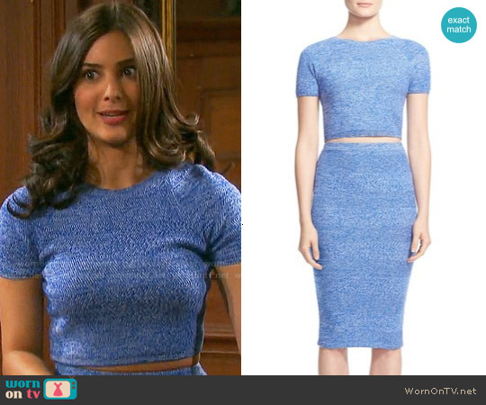 Alice & Olivia Solange Top and Morena Skirt worn by Camila Banus on Days of our Lives