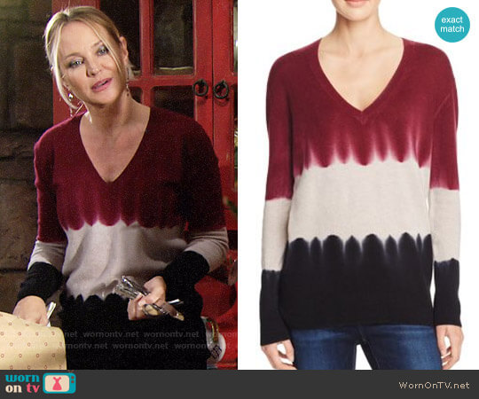 Aqua Cashmere Tie Dye V-Neck Cashmere Sweater worn by Sharon Case on The Young & the Restless