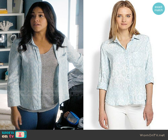 Bella Dahl Ikat Leopard Button-Down Shirt worn by Jane Villanueva (Gina Rodriguez) on Jane the Virgin